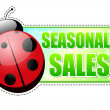 Seasonal sales green spring label with ladybird — Stockfoto