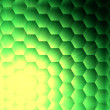 Abstract yellow lights in green hexagons background — Stock Photo