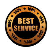 Best service 100 percentages in golden black circle label — Stock Photo