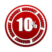 10 percentages discount 3d red circle label — Stock Photo