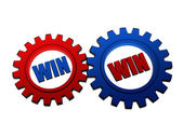 Win win in red and blue gearwheels — Stock Photo