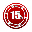 15 percentages discount 3d red circle label — Stock Photo