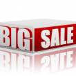 Big sale in red white cube — Stock Photo