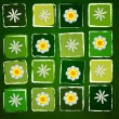 Stock Photo: White flowers in squares over green old paper background