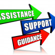 Assistance, support, guidance in arrows - Stock Photo