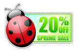 20 percentages off spring sale green label with ladybird — Stock Photo