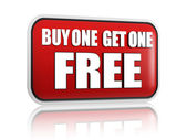 Buy one get one free red banner — Stockfoto