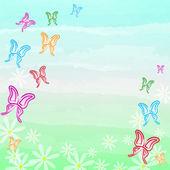 Arka plan bahar rengarenk kelebekler ve beyaz çiçekler — Stok fotoğraf