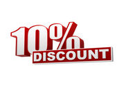 10 percentages discount red white banner - letters and block — Stock Photo