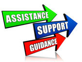 Assistance, support, guidance in arrows — Foto Stock