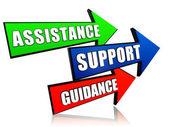 Bijstand, ondersteuning, begeleiding in pijlen — Stockfoto