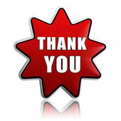 Thank you in red star banner — Stock Photo