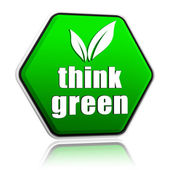 Think green with leaf sign in green button — Stock Photo