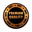 Premium quality 100 percentages in golden black circle label — Stock Photo
