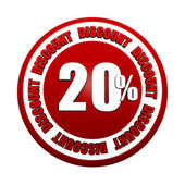 20 percentages discount 3d red circle label — Stockfoto