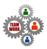 Teamwork and person signs in silver grey gearwheels — Stock Photo