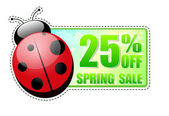 25 percentages off spring sale green label with ladybird — Stock Photo