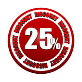 25 percentages discount 3d red circle label — Stockfoto