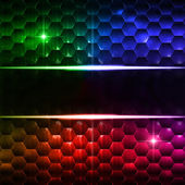 Abstract multicolored hexagons background with text space — Stock Photo