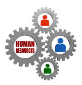 Human resources and person signs in silver grey gearwheels — Stock Photo