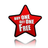 Buy one get one free red star banner — Stock Photo