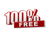100 percentages free red white banner - letters and block — Stock Photo