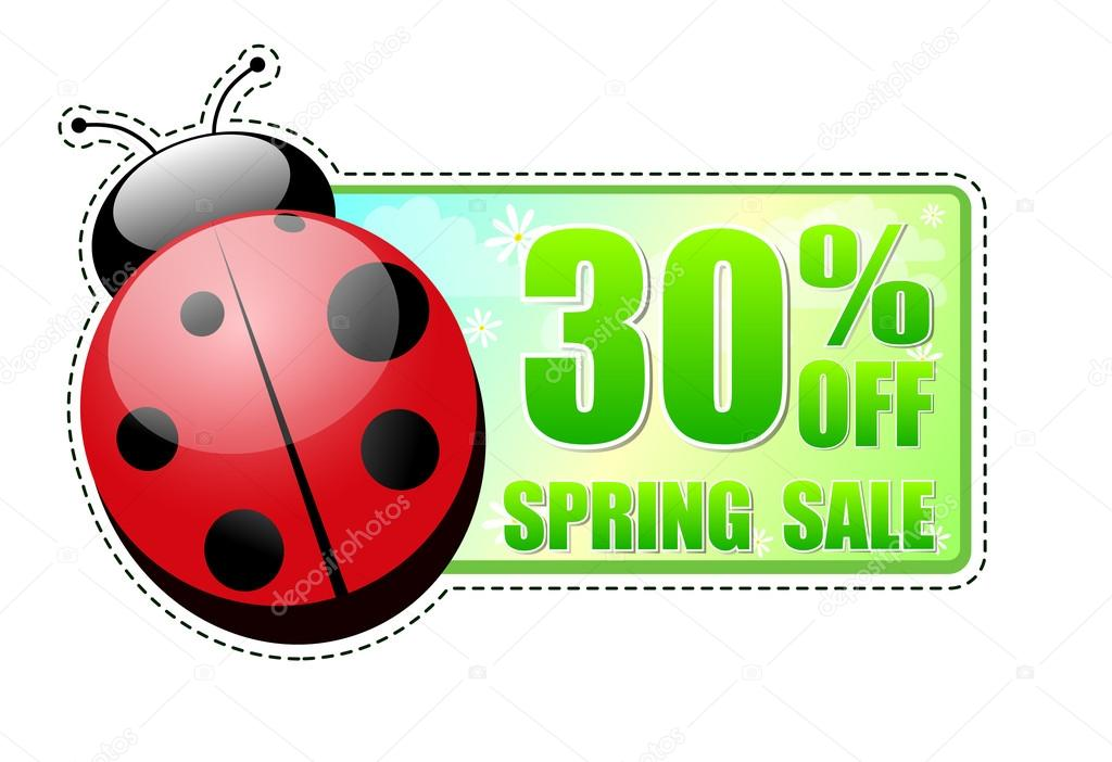 30 percentages off spring sale banner - text in green label with red ladybird and white flowers, business concept — Stock Photo #21249299