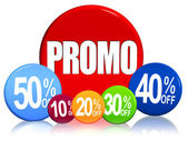 Different percentages and text Promo — Stock Photo