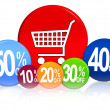 Different percentages with cart - Stock Photo