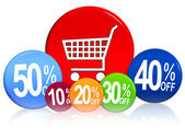 Different percentages with cart — Stock Photo