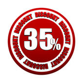 35 percentages discount 3d red circle label — Stock Photo