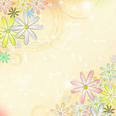 Spring flowers over beige old paper background with circles — Stock Photo