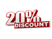 20 percentages discount red white banner - letters and block — Foto de Stock