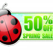 50 percentages off spring sale green label with ladybird — Stok fotoğraf #21990361