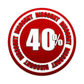 40 percentages discount 3d red circle label — Stock Photo