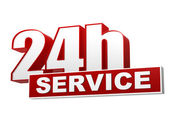 24h service red white banner - letters and block — Foto de Stock