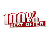 100 percentages best offer red white banner - letters and block — Stock Photo