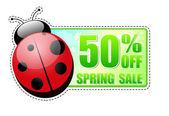 50 porcentajes de la etiqueta de venta verde primavera con mariquita — Foto de Stock