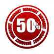 50 percentages discount 3d red circle label - Foto de Stock