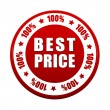 100 percentages best price 3d red circle label — Stock Photo