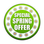 Special spring offer green circle label with flowers — Stock Photo