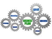 Business plan and concept words in silver grey gearwheels — Stock Photo