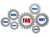 Faq and question words in gearwheels — Stock Photo