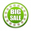 Spring big sale green circle label with flowers — Stock Photo