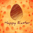 Happy Easter and brown egg over orange old paper background — Stock Photo #22195653