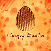 Happy Easter and brown egg over orange old paper background — Stock Photo