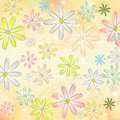Spring daisy flowers over beige old paper background with circle — Stock Photo