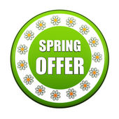 Spring offer green circle label with flowers — Stock Photo