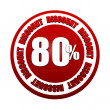 80 percentages discount 3d red circle label — Stock Photo