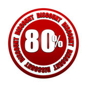 Etiqueta de círculo rojo 3d 80 porcentajes de descuento — Foto de Stock
